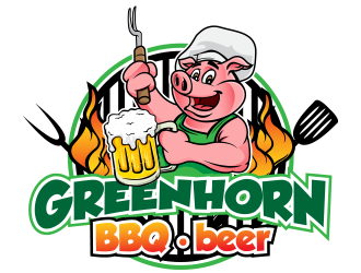 Greenhorn BBQ beer logo design