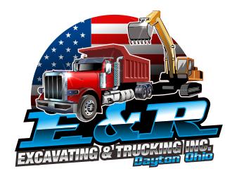 E & R Excavating & Trucking Inc. logo design