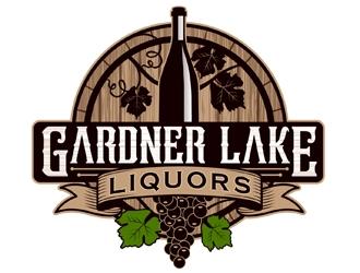 Gardner lake liquors logo design