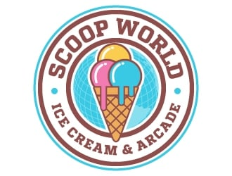 Scoop World Ice Cream & Arcade logo design