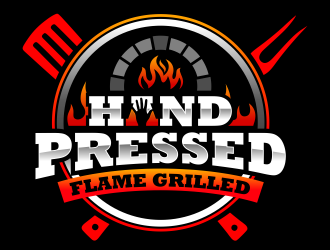 HAND PRESSED FLAME GRILLED logo design