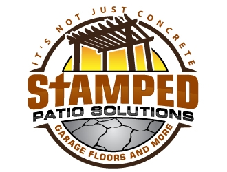 Stamped Patio Solutions, Garage Floors and more logo design