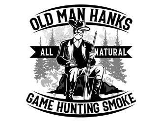 Old Man Hanks  All Natural  Game Hunting Smoke logo design