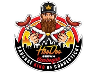 Hoodoo Brown BBQ/ Sausage king of Connecticut logo design