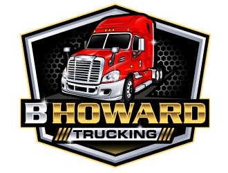 B HOWARD TRUCKING  logo design