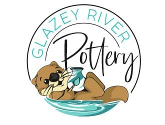 GLAZEY RIVER POTTERY logo design