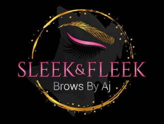 SLEEK & FLEEK   BROWS BY AJ logo design