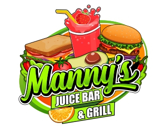 Mannys Juice Bar & Grill logo design