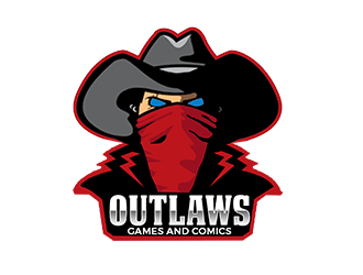 Outlaw Games and Comics logo design by PrimalGraphics