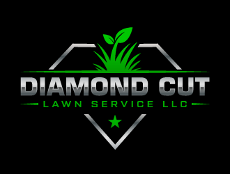Diamond Cut Lawn Service LLC logo design