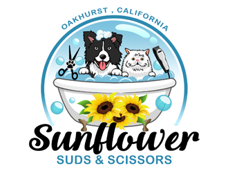 Sunflower Suds and Scissors  logo design