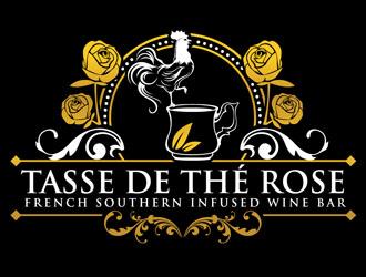 Tasse De The rose French Southern Infused Wine Bar Logo Design