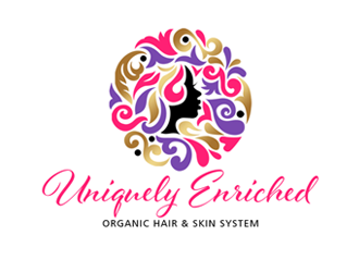 Uniquely Enriched small font print> (organic hair & skin system) logo design