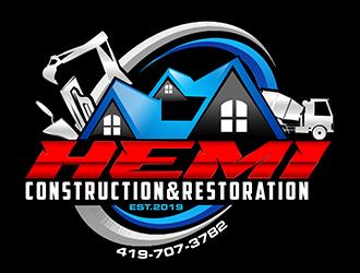 Hemi construction&restoration logo design by 3Dlogos