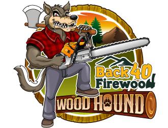 Back 40 Firewood Wood Hound logo design