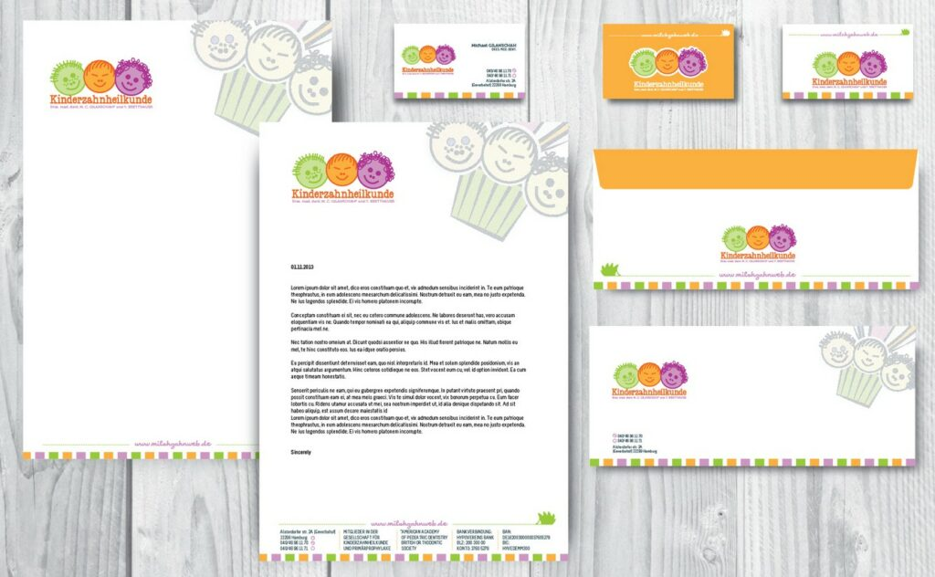 children dentist business stationery design