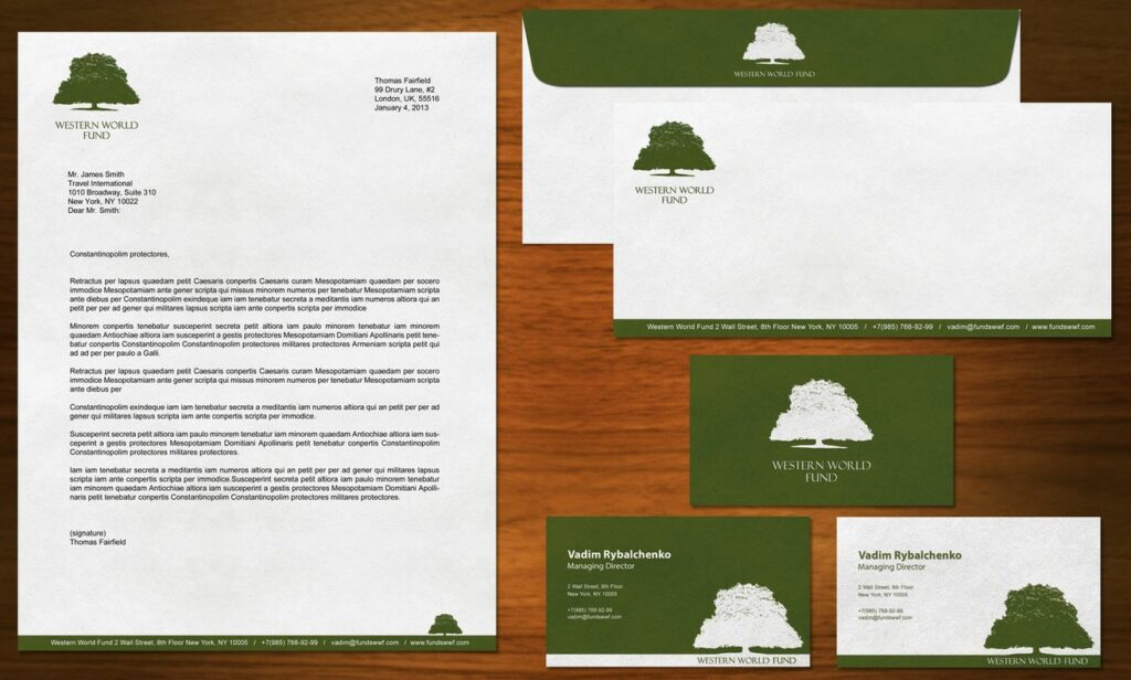 financial company stationery design