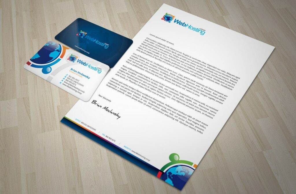 hosting company business card and letterhead design