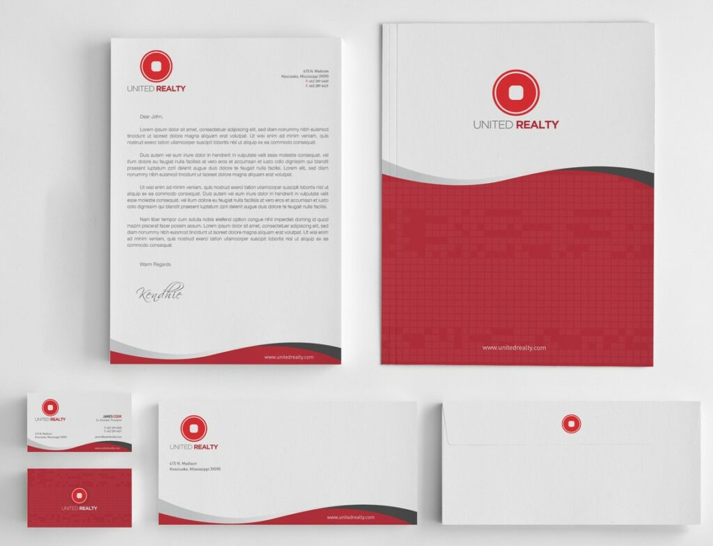 real estate company business card stationery design