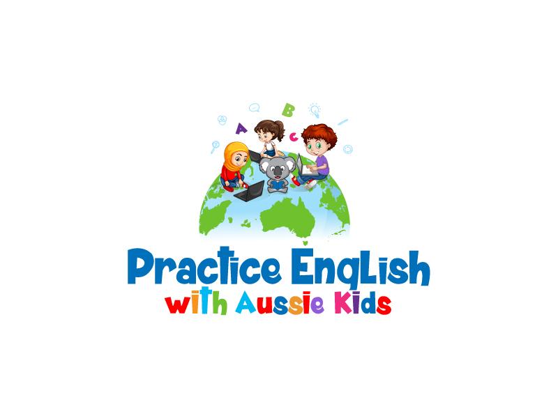 Practice English with Aussie Kids Logo Design