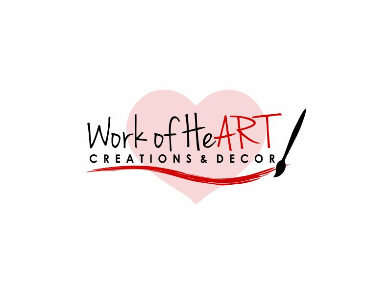 Work of HeART Creations & Decor' logo design by Girly