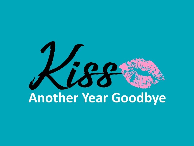 Kiss Another Year Goodbye logo design by GassPoll