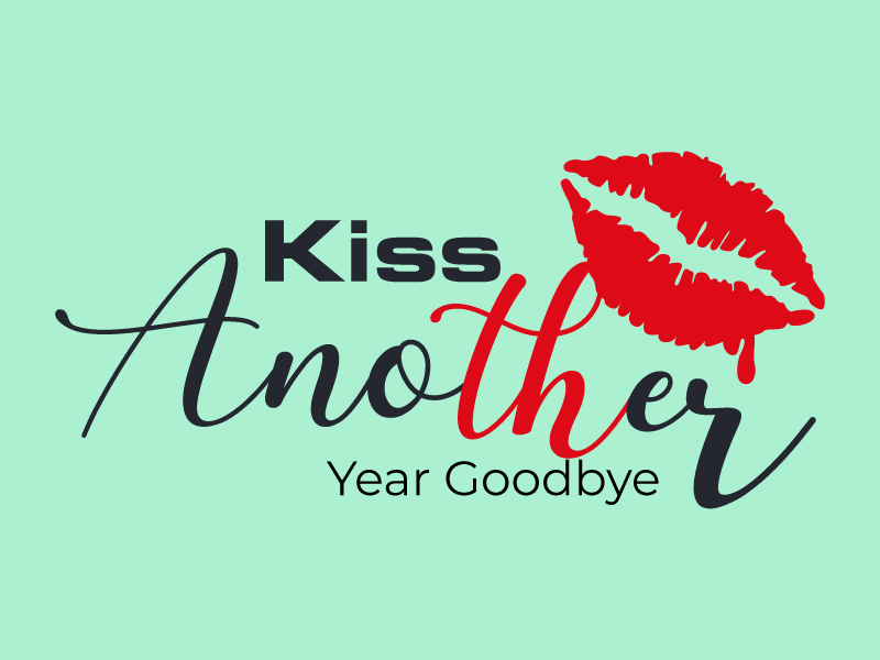 Kiss Another Year Goodbye logo design by Suvendu