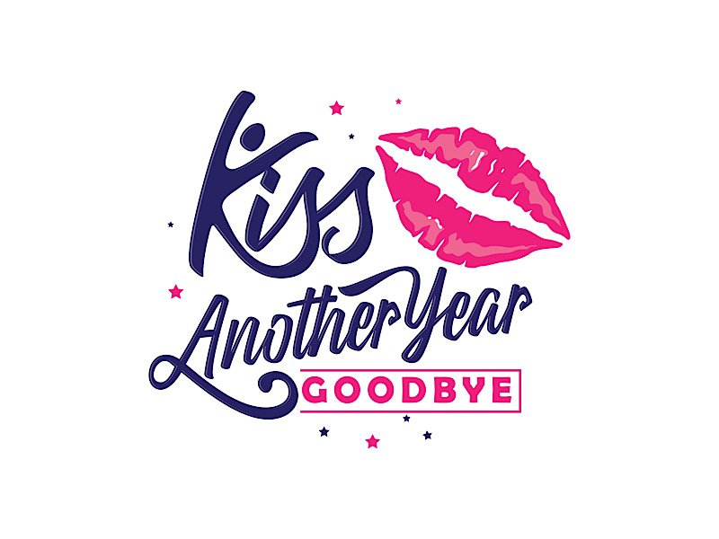 Kiss Another Year Goodbye logo design by gogo