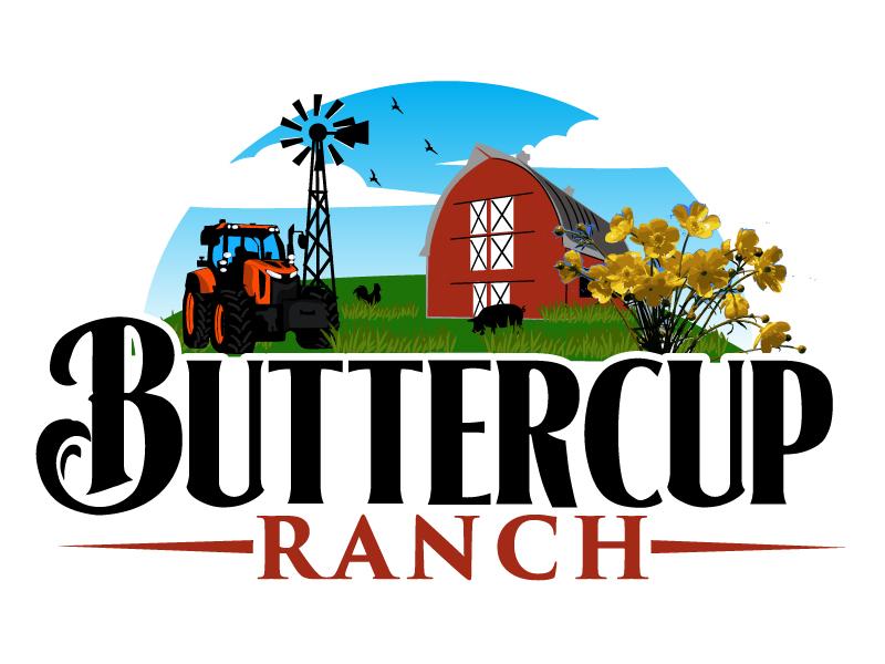 Buttercup Ranch logo design by ElonStark