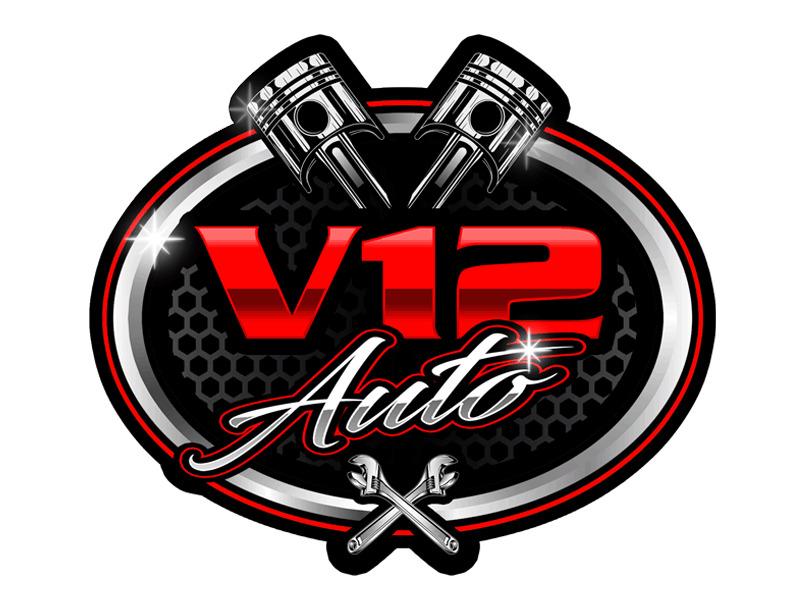 V12 auto logo design by Bananalicious