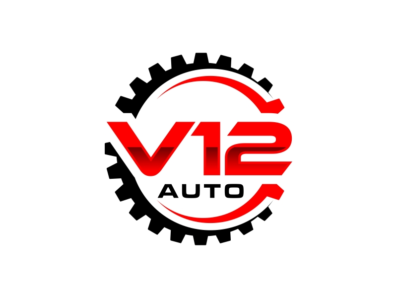 V12 auto logo design by GassPoll