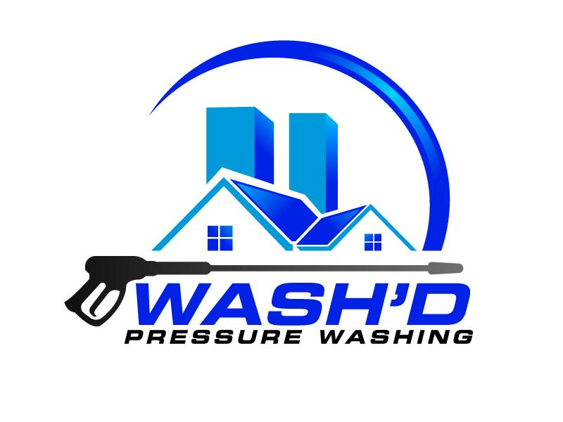 Wash'd  PRESSURE WASHING logo design by ElonStark