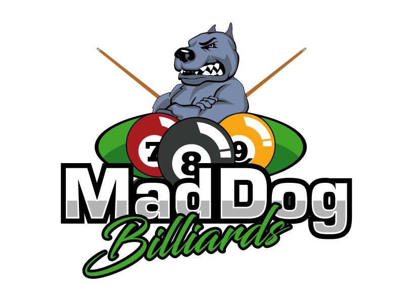 Mad Dog Billiards logo design by ElonStark