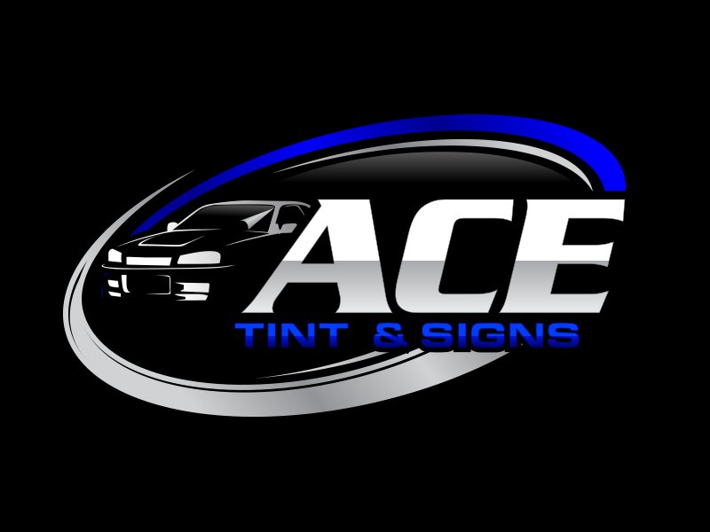 Ace  TINT  & SIGNS logo design by MarkindDesign™