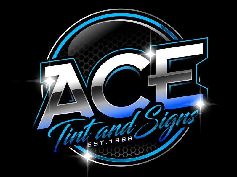 Ace  TINT  & SIGNS logo design by DreamLogoDesign