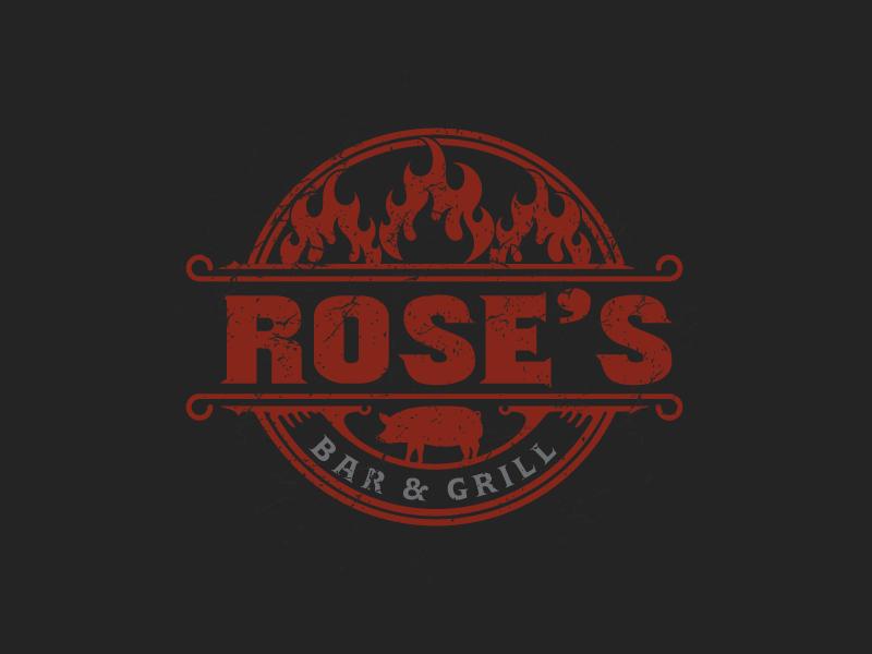 Rose's Bar & Grill logo design by emberdezign
