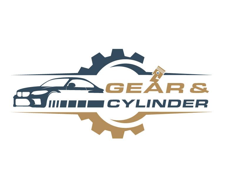Gear And Cylinder logo design by LogoQueen