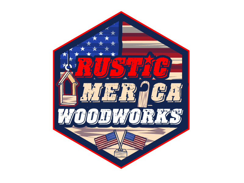 Rustic America Woodworks logo design by LogoQueen