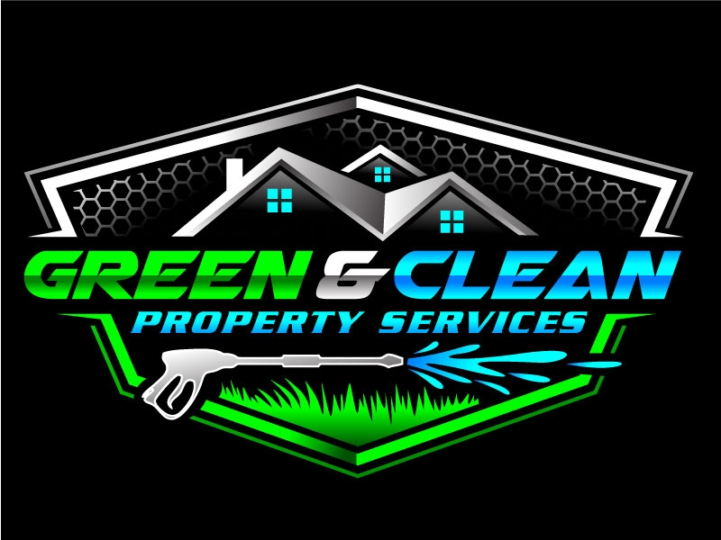 Green and Clean Property Services logo design by REDCROW