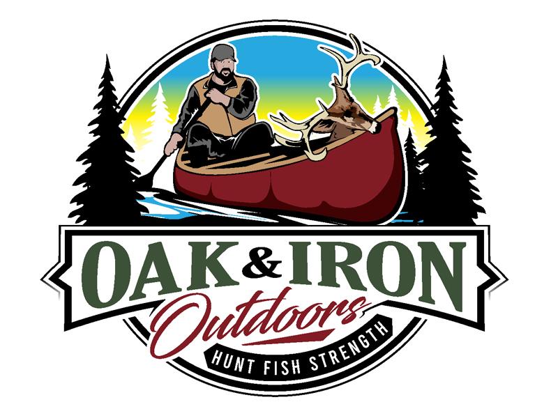Oak & Iron Outdoors (Main Wording)   Hunt Fish Strength (Smaller wording) logo design by DreamLogoDesign