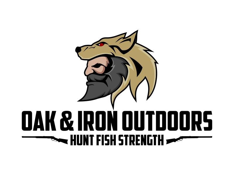 Oak & Iron Outdoors (Main Wording)   Hunt Fish Strength (Smaller wording) logo design by Kruger