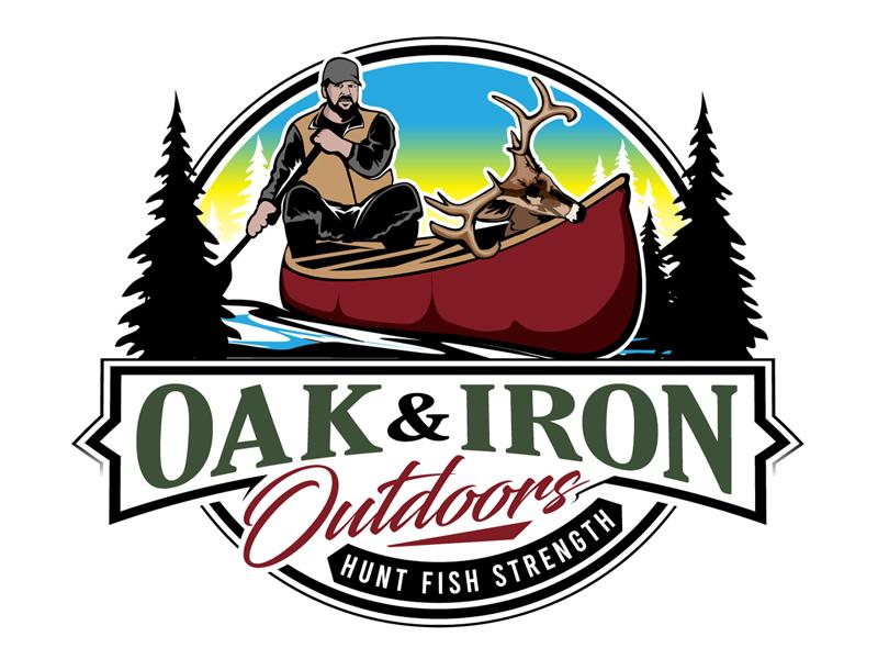 Oak & Iron Outdoors (Main Wording)   Hunt Fish Strength (Smaller wording) Logo Design
