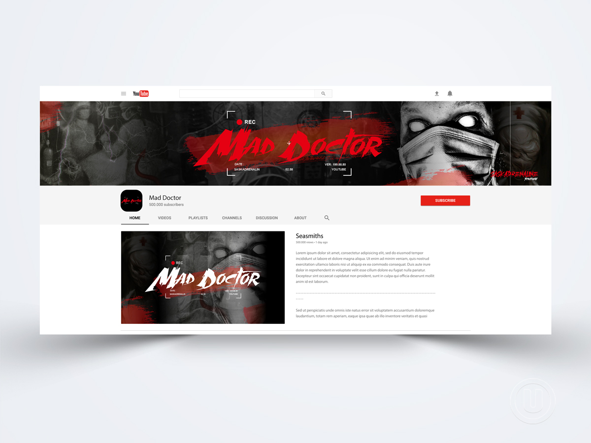 Youtube channel banner - Mad Doctor logo design by Ulid