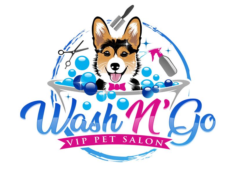 WASH N' GO   Vip Pet Salon logo design by DreamLogoDesign