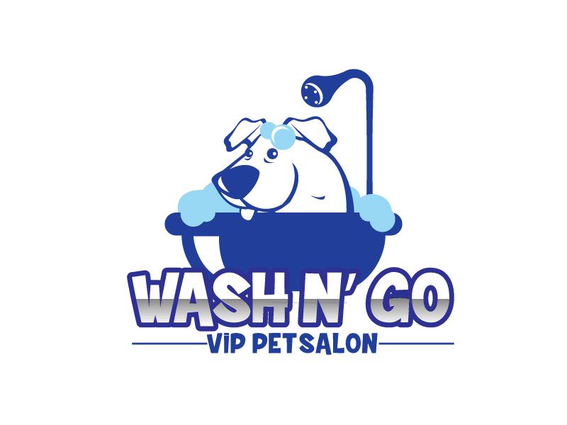 WASH N' GO   Vip Pet Salon logo design by ElonStark