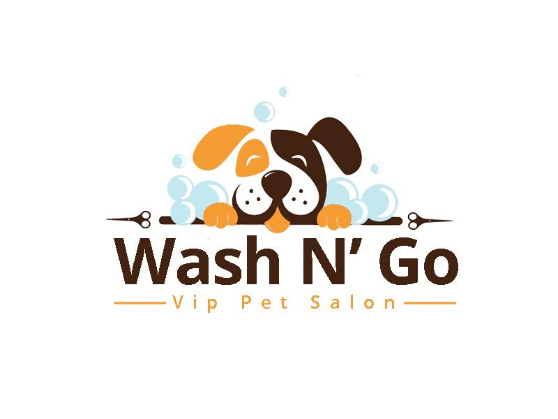 WASH N' GO   Vip Pet Salon logo design by senja03