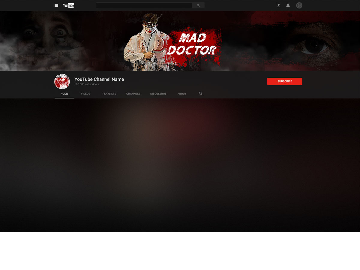 Youtube channel banner - Mad Doctor logo design by grea8design