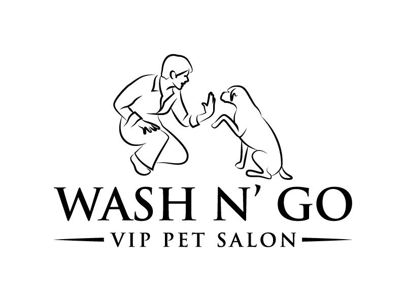 WASH N' GO   Vip Pet Salon logo design by karjen