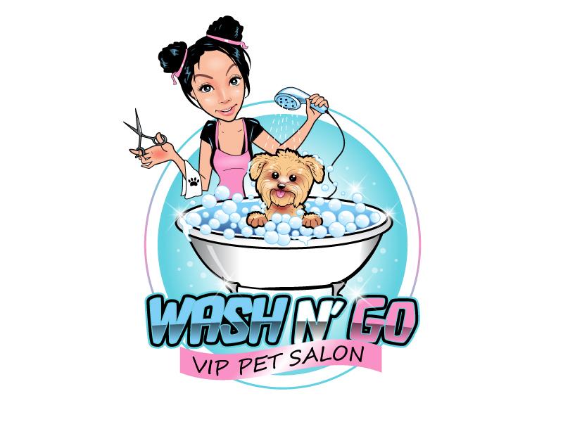 WASH N' GO   Vip Pet Salon logo design by uttam