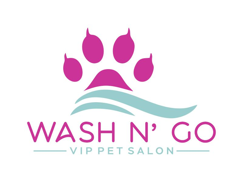 WASH N' GO   Vip Pet Salon logo design by Gwerth